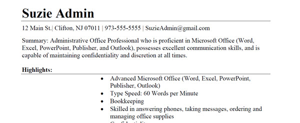 Administrative Office Professional Resume Sample 2