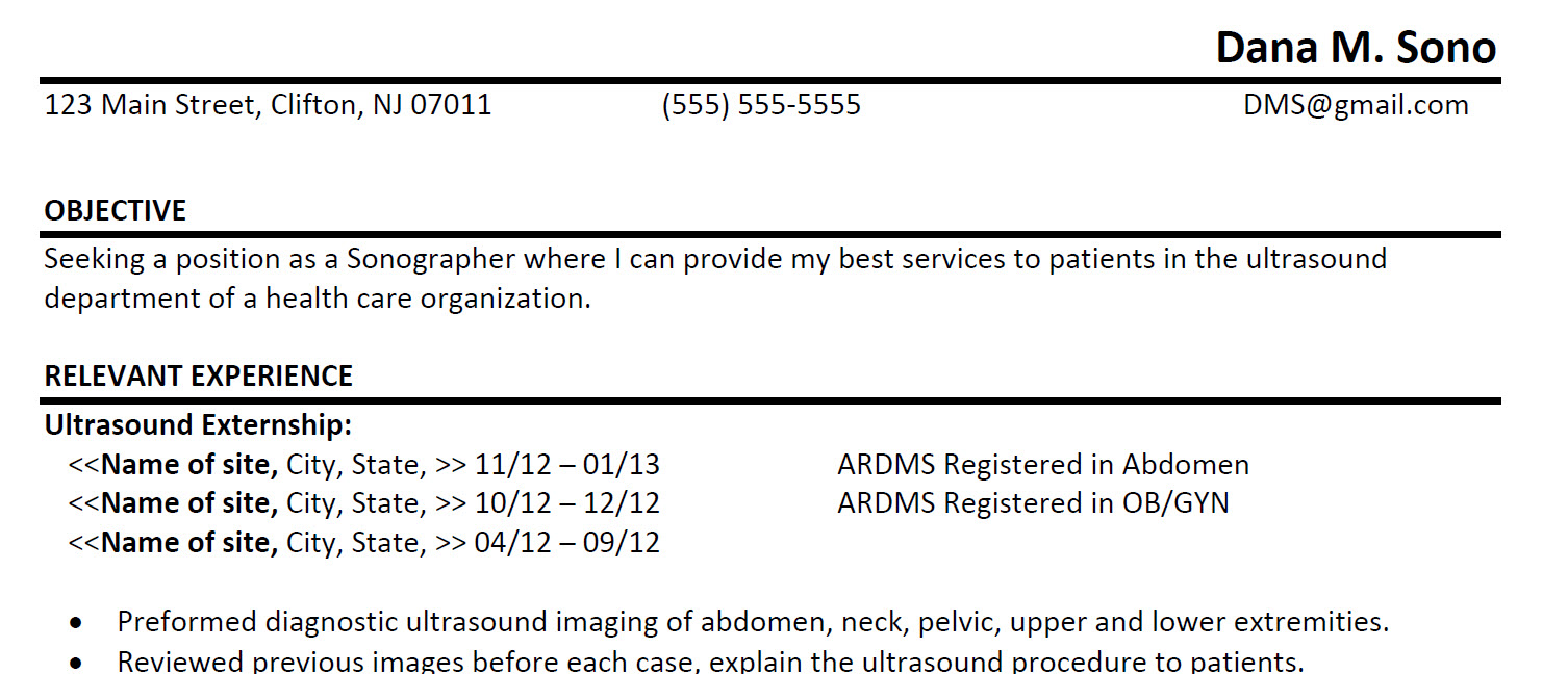 Diagnostic Medical Sonography Resume Sample 1