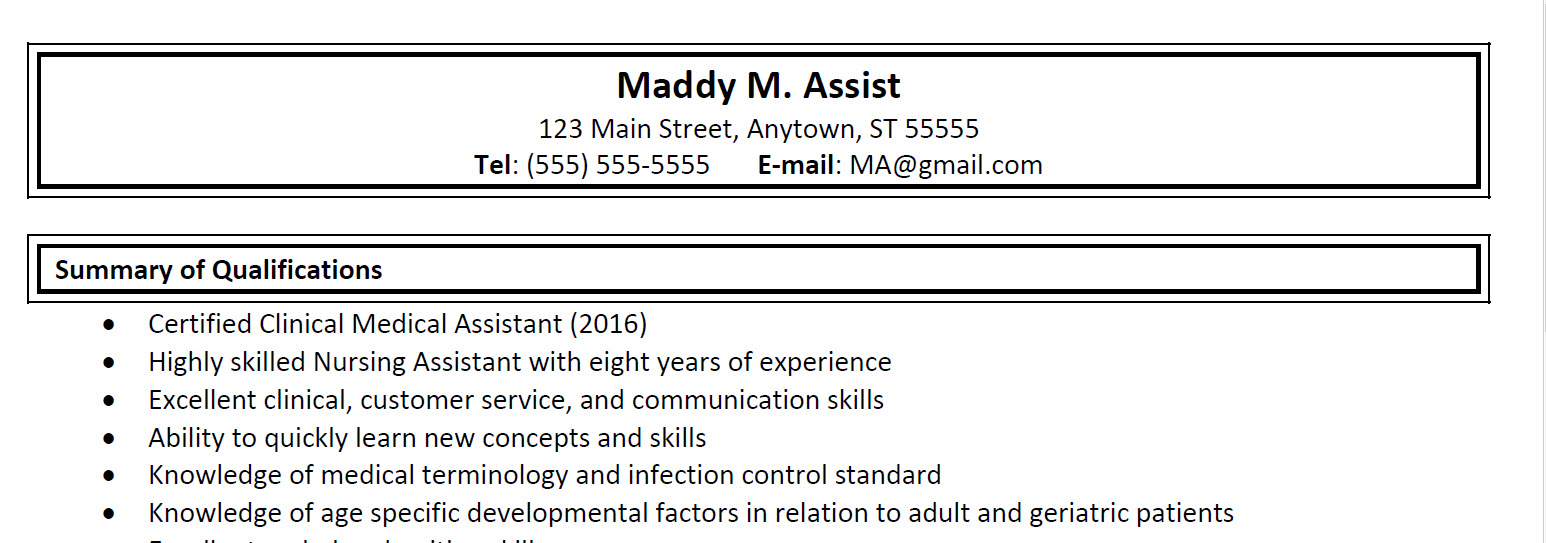Medical Assisting Resume Sample 1