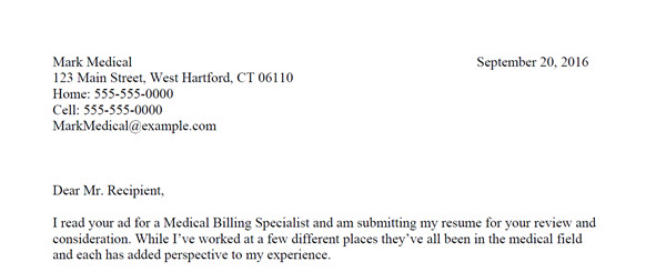 Medical Coding and Billing Cover Letter Sample