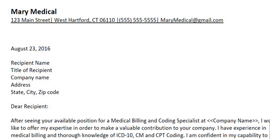 Medical Coding and Billing Cover Letter Sample 2