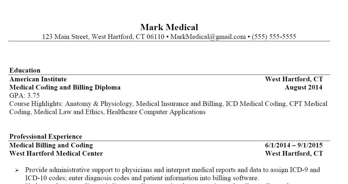 Medical Coding and Billing Resume Sample 1