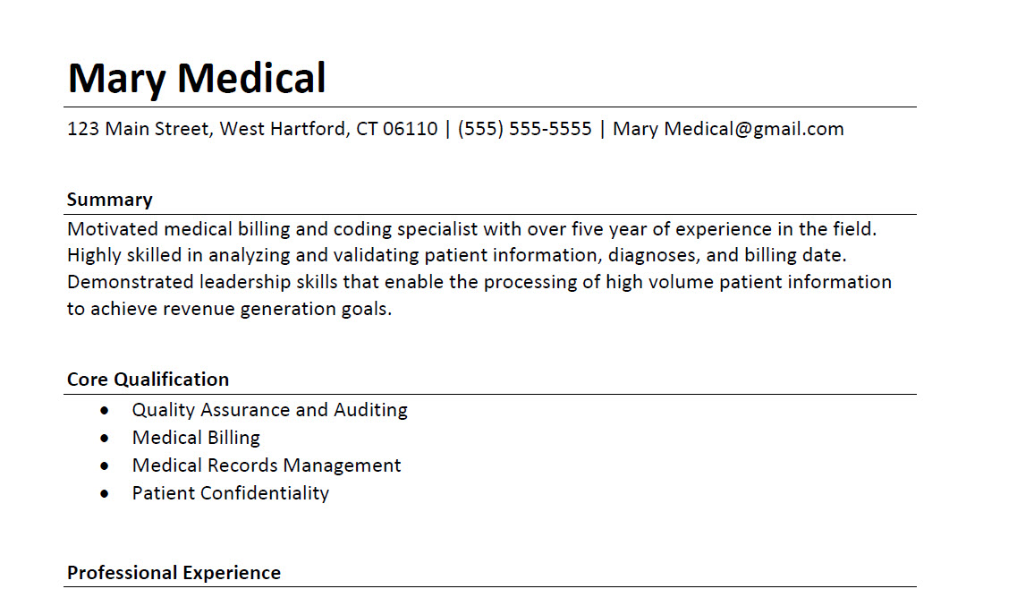Medical Coding and Billing Resume Sample 2