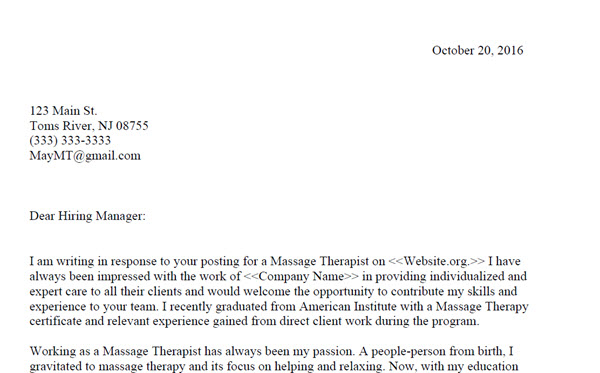 Massage Therapy Cover Letter Sample