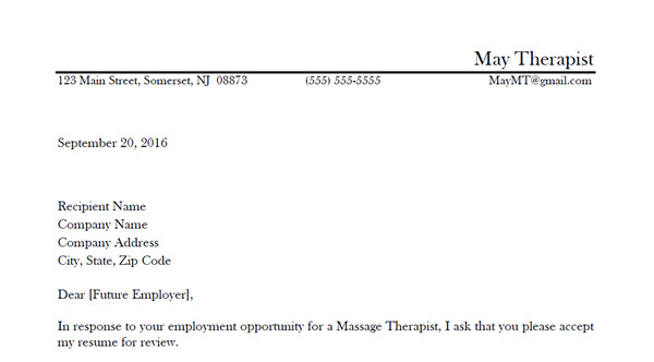 Massage Therapy Cover Letter Sample 2