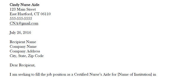 nurse aide cover letters