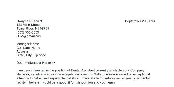 Dental Assisting Cover Letter Sample 2 Ai Grads