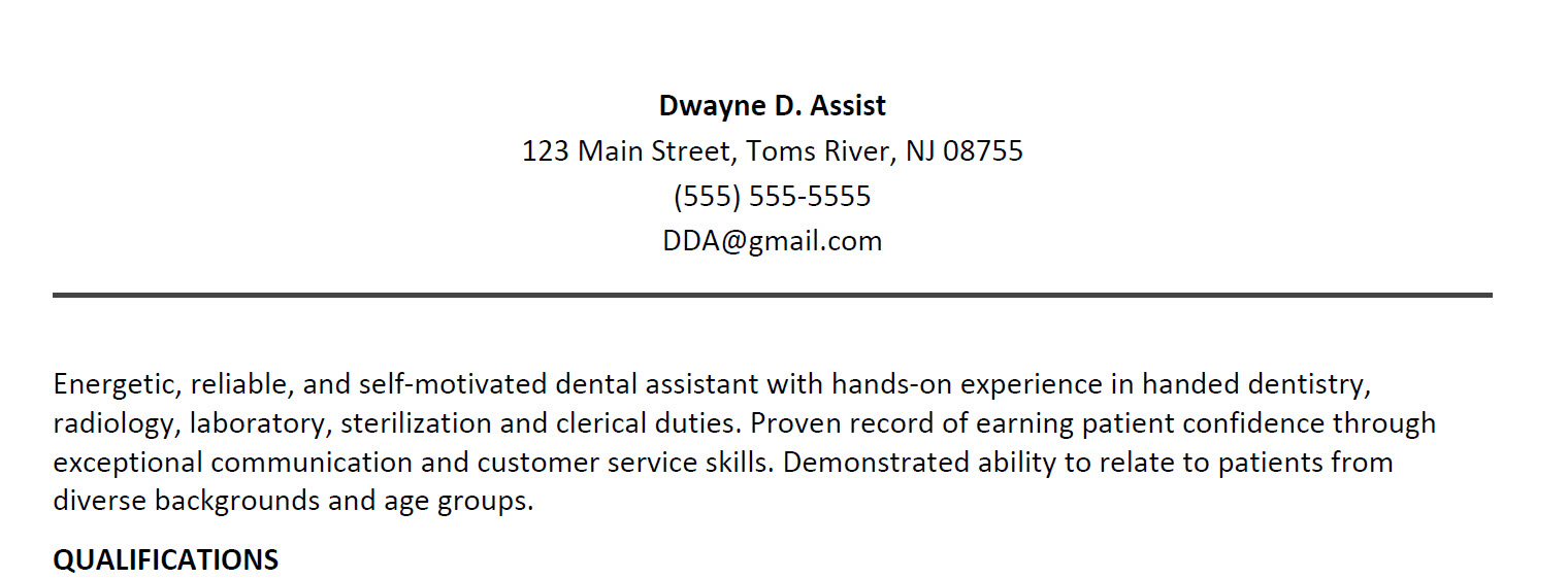 Dental Assisting Resume Sample